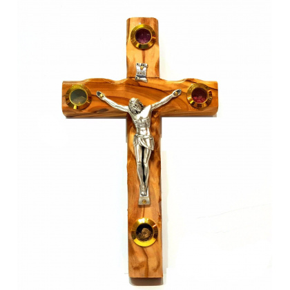 olive wood wall hanging crucifix 16cm 63  189
