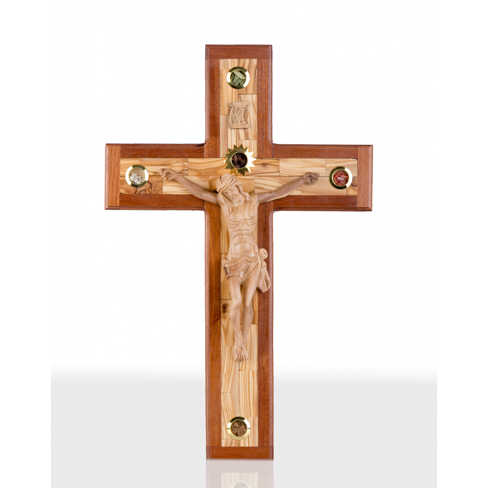 Large olive Wood wall mounting Crucifix 50cm