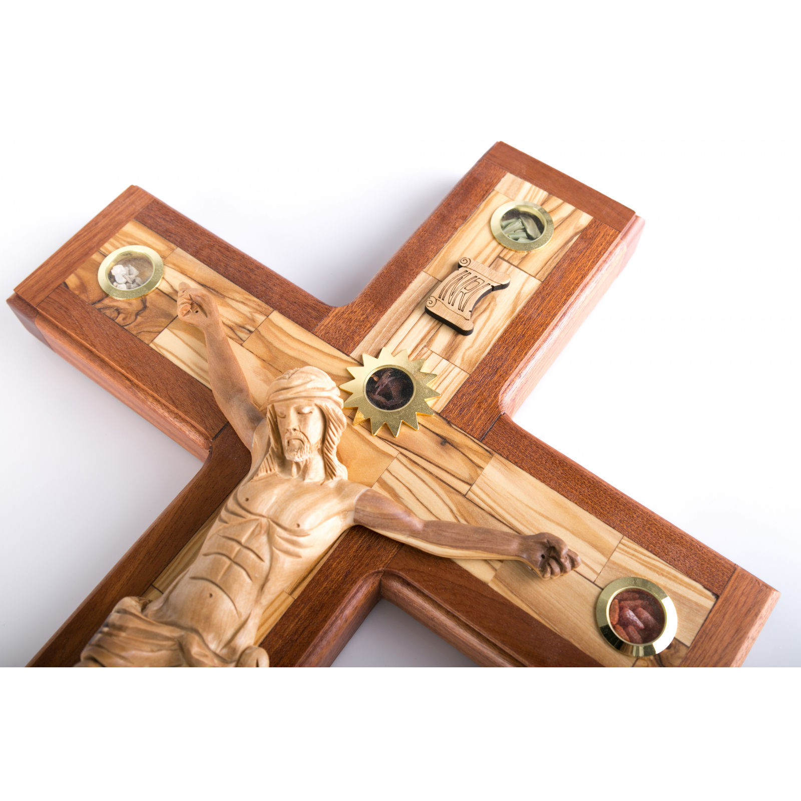 Large olive Wood wall mounting Crucifix 35cm / 13.8""