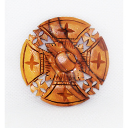 Wooden Jerusalem cross brooch