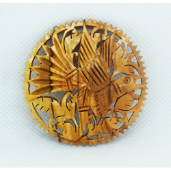 Wooden dove brooch