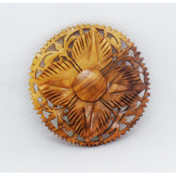 Wooden flower brooch