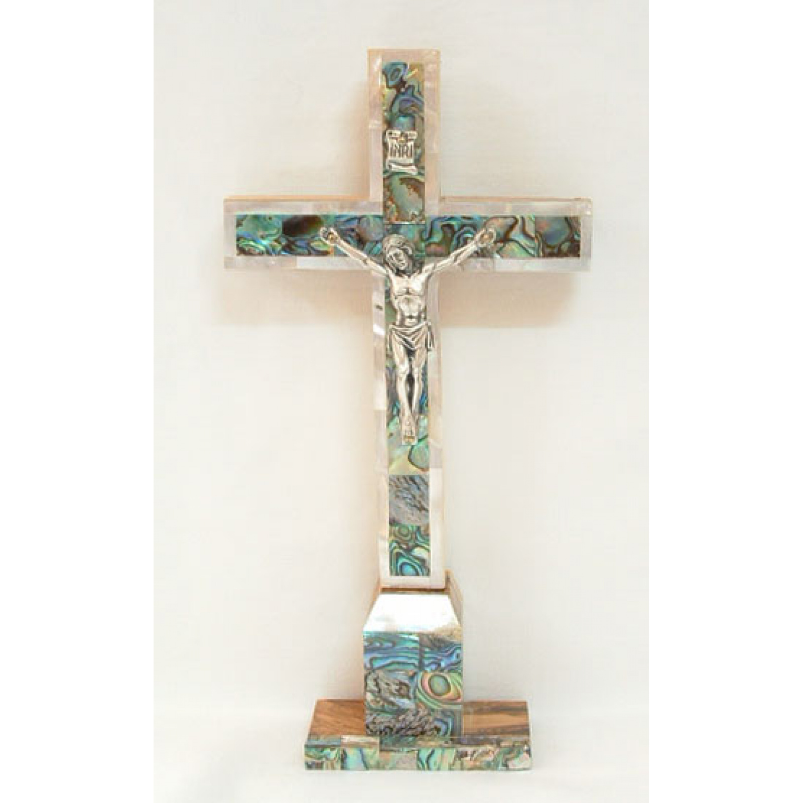 Mother of pearl tabletop crucifix
