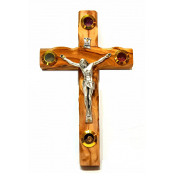 Olive wood wall hanging crucifix 16cm